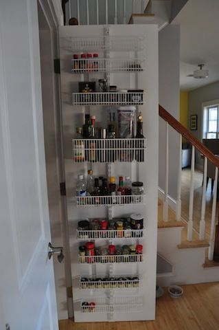 Container Store Delight: An Over The Door Rack That Holds Spices /oils/vinegars