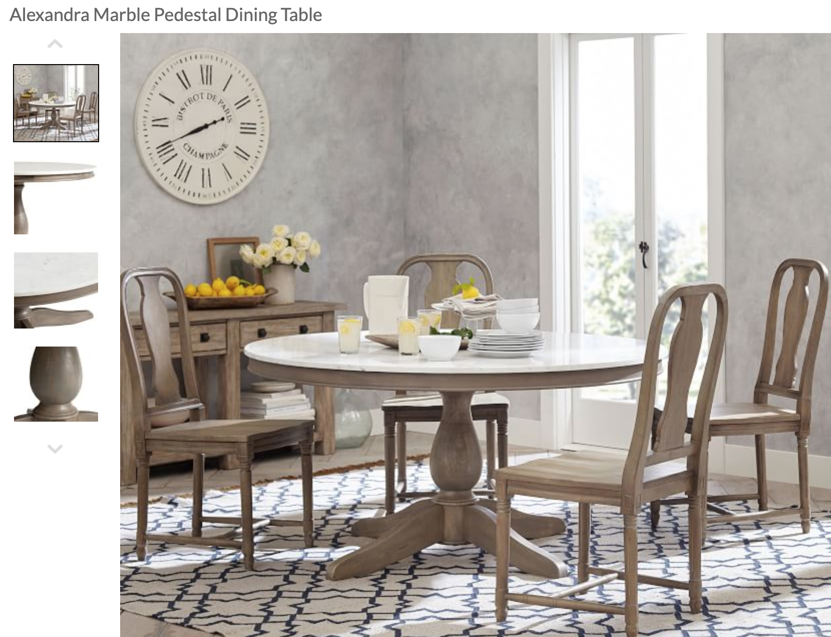 Alexandra Round Marble Pedestal Dining Table Dining
