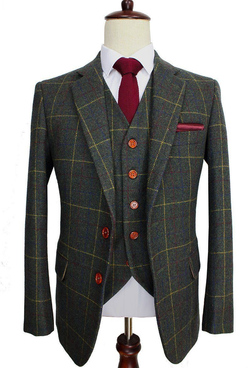 Checkered-Green Woolen Tweed Suit. Men Formal Wear, Tailor Custom Made Blazer, 3 Piece #men'ssuits