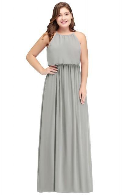 78b2d067d30 Halter Chiffon Long Party Dress – Curvy Fashion Queen