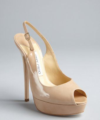 b90bcff3fbb Jimmy Choo   nude patent leather  Vita  peep toe platform slingbacks    style   320911701
