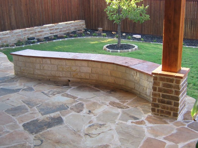 retaining wall with bench | 12\' White Austin Chopped Stone bench ...