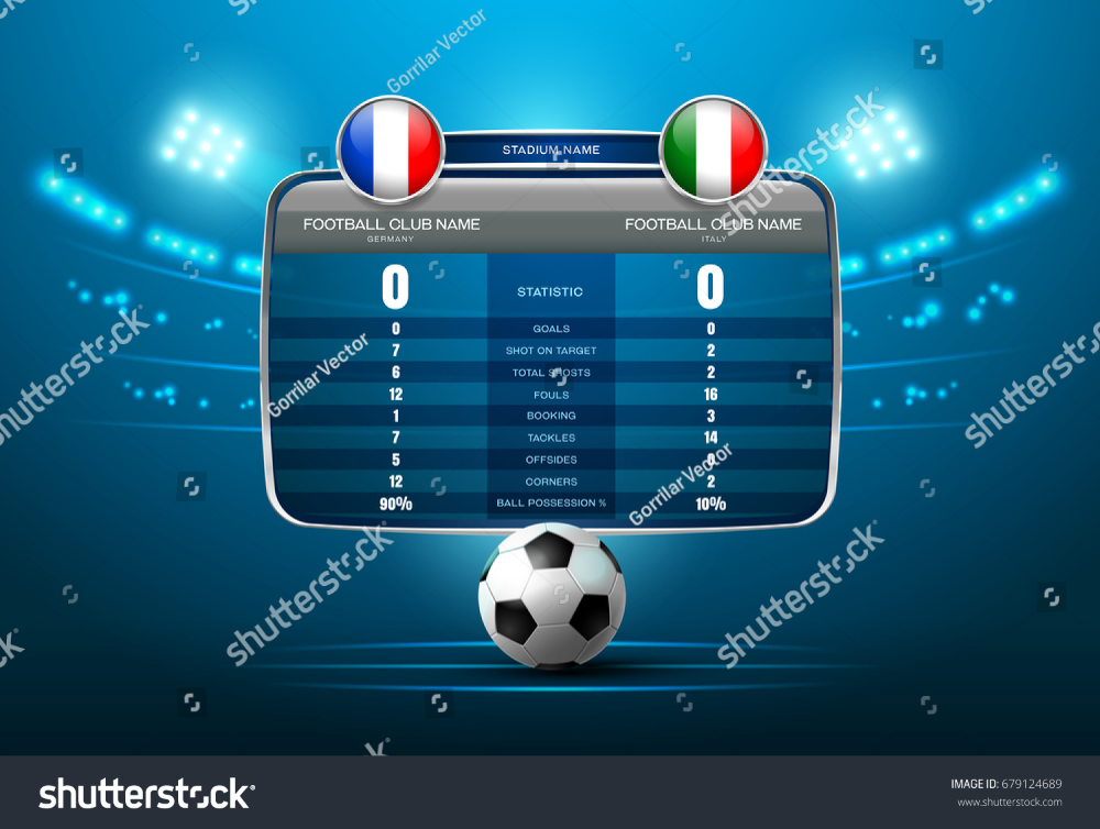 Soccer Football Stadium Spotlight And Scoreboard Background With Glitter Light Vector Illustration Football Scoreboard Football Football Stadiums