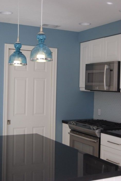Best Love These Blue Pendant Lights And Bright Blue Kitchen 400 x 300