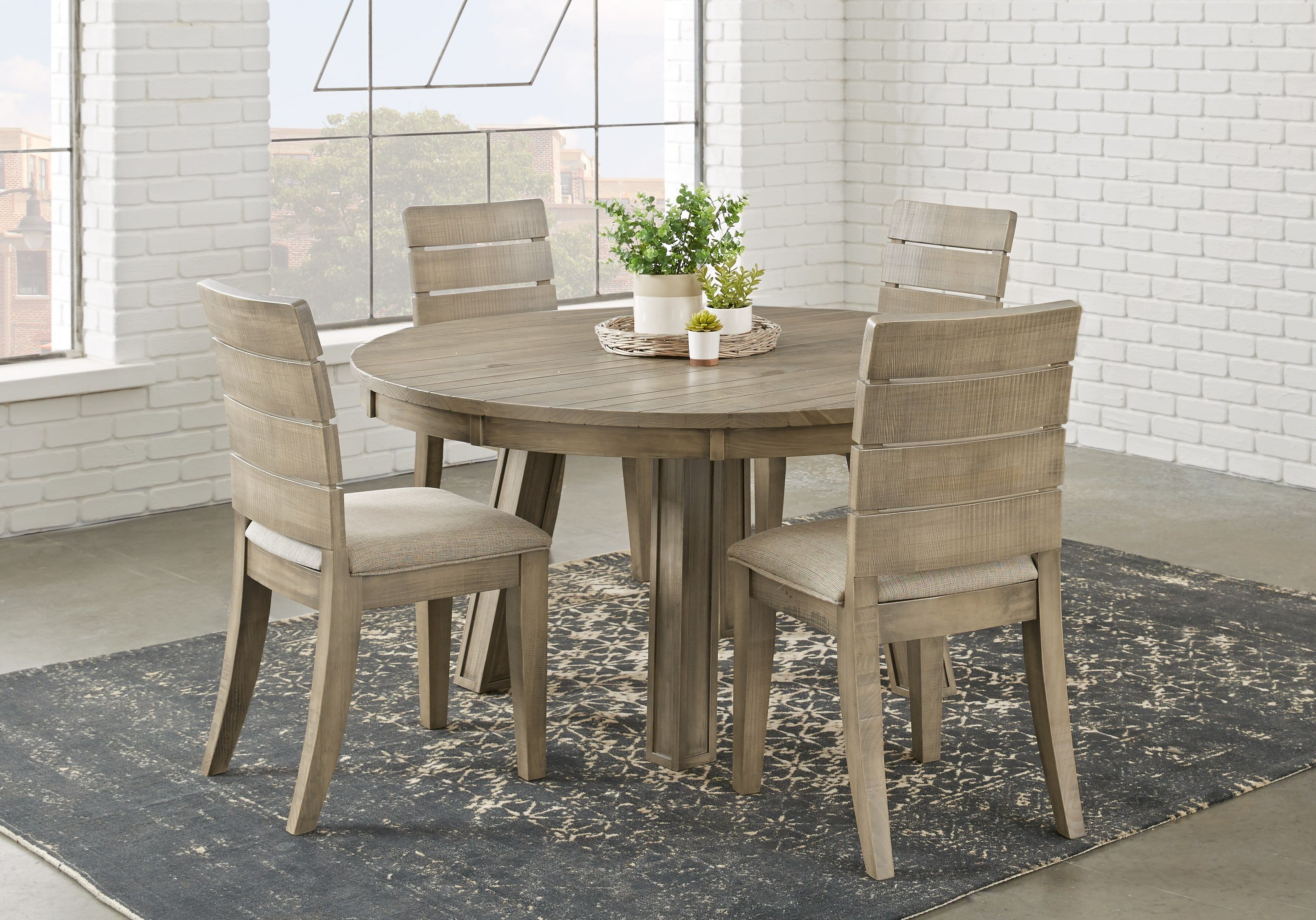 Crestwood Creek Gray 5 Pc Round Dining Room 799 99 5pc Set Includes Side Chair 4 Dining Table Dining Room Sets Round Dining Room Sets Circular Dining Room