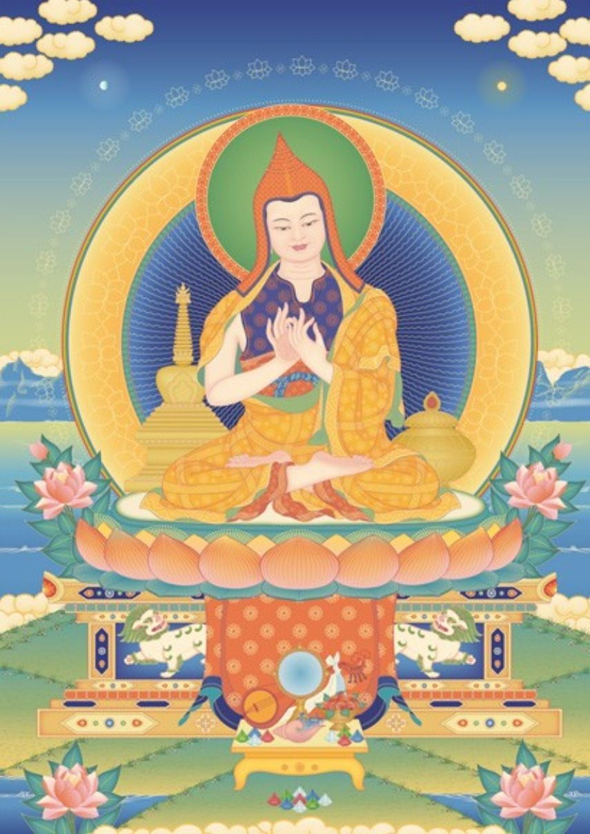 Atisha (982-1054), the great Buddhist Master and scholar who founded the Kadampa tradition and who re-established Buddhism in Tibet. He composed and taught Lamp for the Path to Enlightenment, the first text written on the stages of the path, Lamrim.