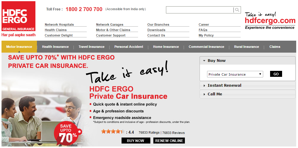 HDFC Ergo Car Insurance Insurance benefits, Car
