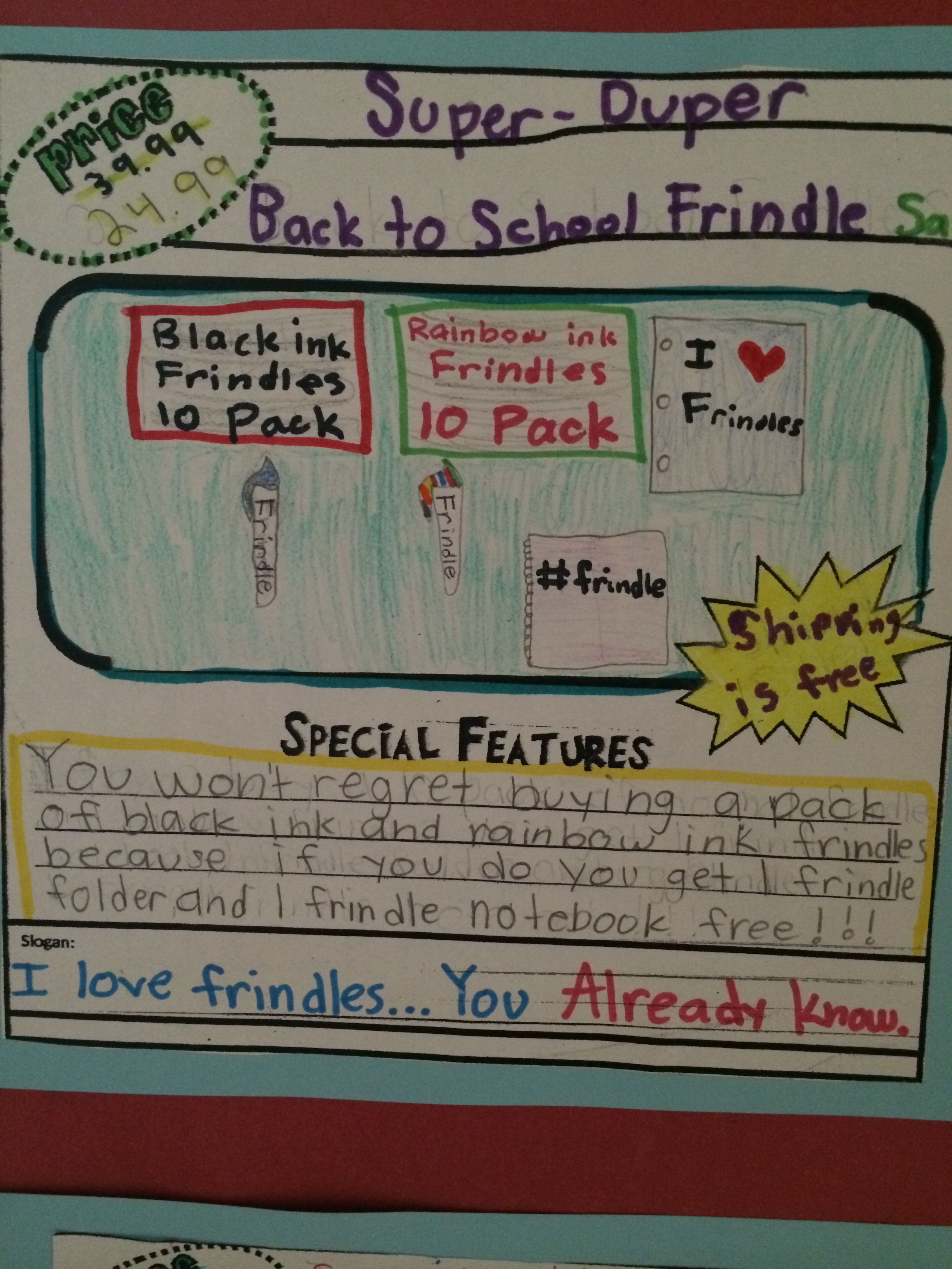 Frindle Lit Study Advertisement. Extension activities to go along with  second half of book