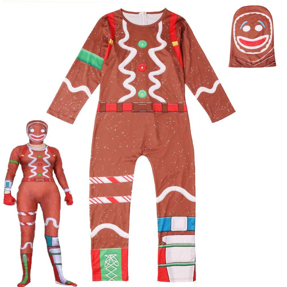 Cosplay Game Fortnite Gingerbread Man Costume Halloween Couple