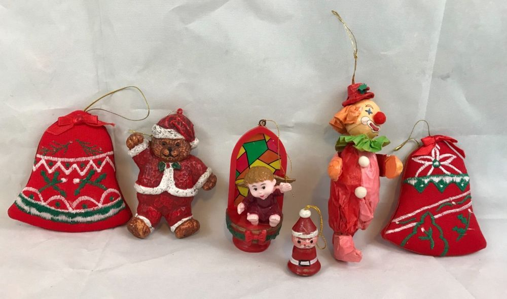 lot of 6 vintage christmas ornaments clown bells bear collectibles