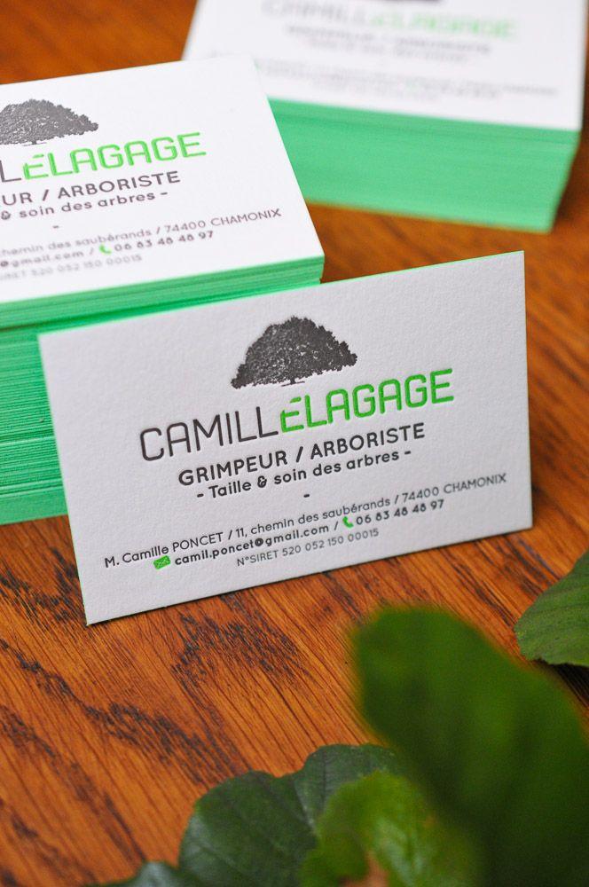 Carte De Visite Imprimees En Letterpress Noir Et Vert Fluo Avec Couleur Sur Tranche Business Card Neon Green And Black With Edge Painting