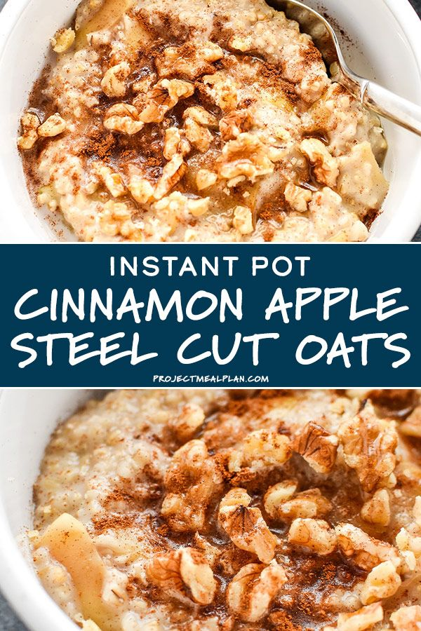 This Instant Pot Cinnamon Apple Steel Cut Oats recipe is a one-pot, hands-off method you make your basic steel cut oats next level! #instantpot #steelcutoats