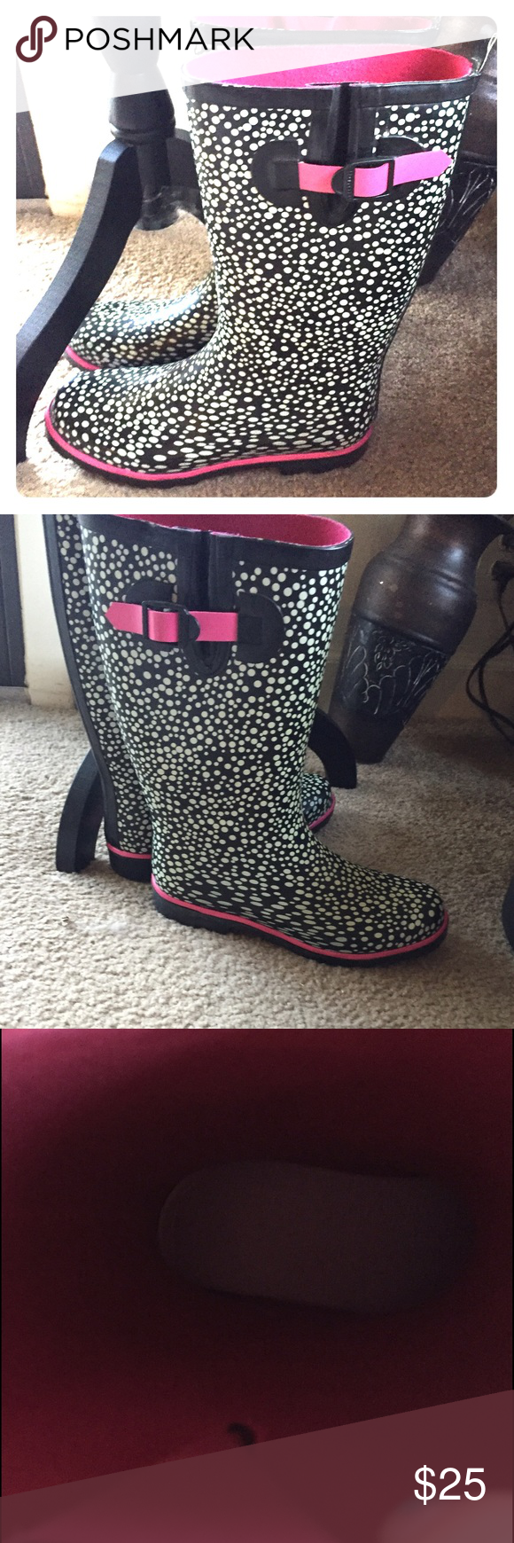 🆕 cute polka dot splatter rain boots Very cute! Size  m (7-8.) Preloved but lots of life left. 👺NO TRADES DONT ASK! ✌🏼️Transactions through posh only!  😻 friendly home 💃🏼 if you ask a question about an item, please be ready to purchase (serious buyers only) ❤️Color may vary in person! 💗⭐️Bundles of 5+ LISTINGS are 5️⃣0️⃣% off! ⭐️buyer pays extra shipping if likely to be over 5 lbs 🙋thanks for looking! Shoes Winter & Rain Boots