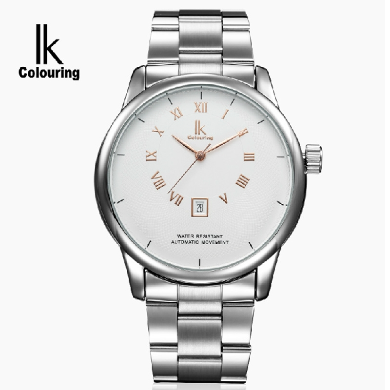 59.78$  Buy now - http://aliwan.worldwells.pw/go.php?t=32755654639 - Ik for fully-automatic mechanical watch brief large dial steel strip commercial casual male watch