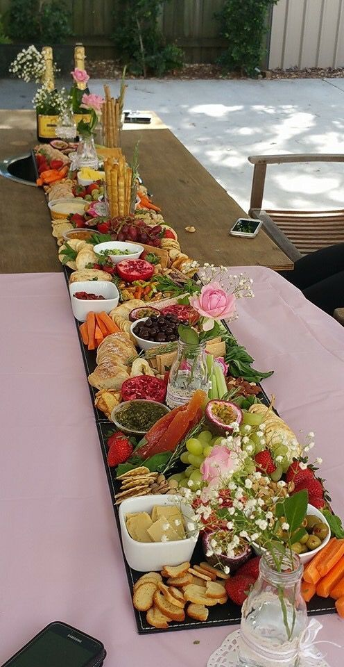 Beautiful display for breads veggies and fruits.  Visit www.plan4event.com #charcuterieboard
