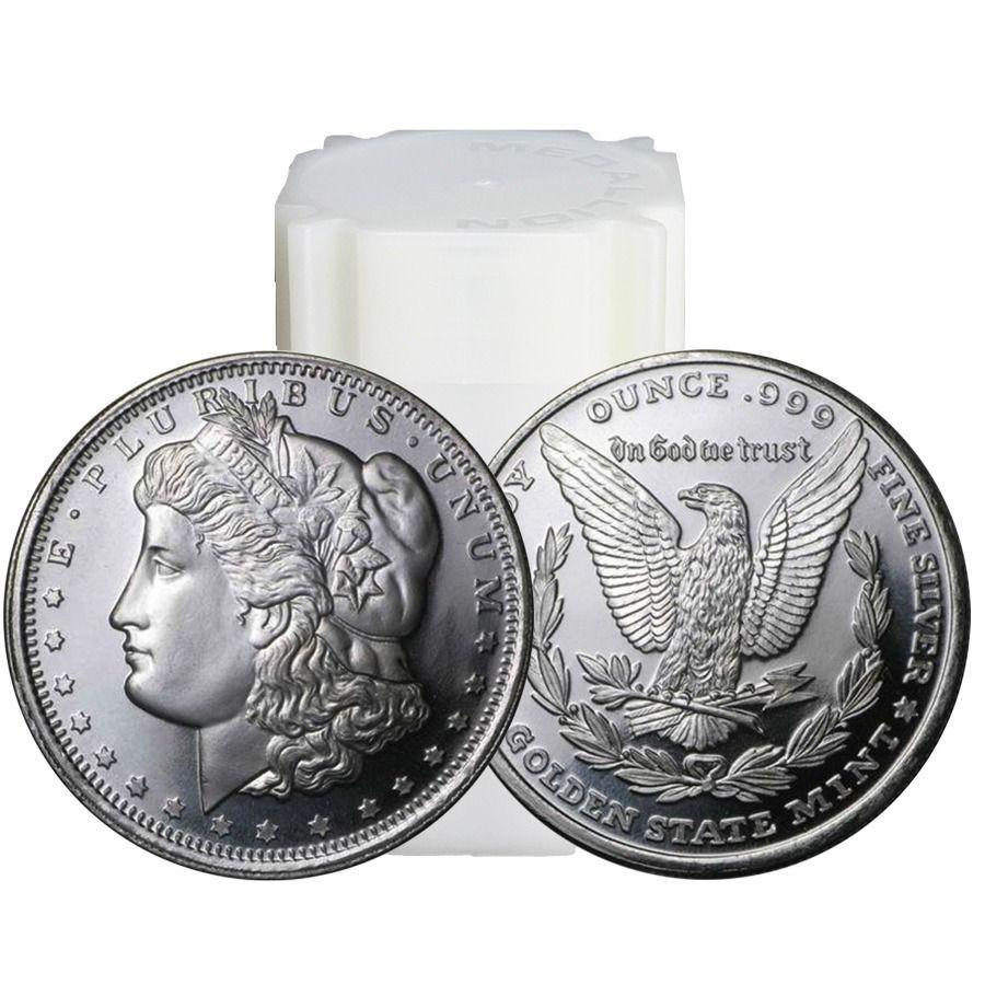 Roll Of 20 Morgan Dollar Design 1 Oz 999 Fine Silver Rounds Fine Silver Silver Rounds Morgan Dollars