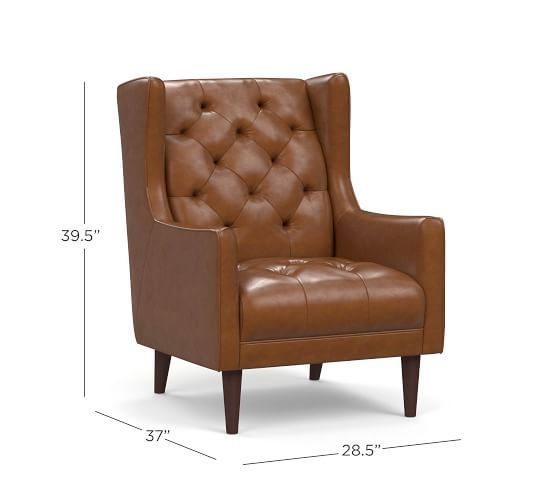 Asher Leather Armchair Pottery Barn In 2019 Armchair