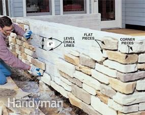 How To Build A Stone Wall Around Deck By Family Handyman