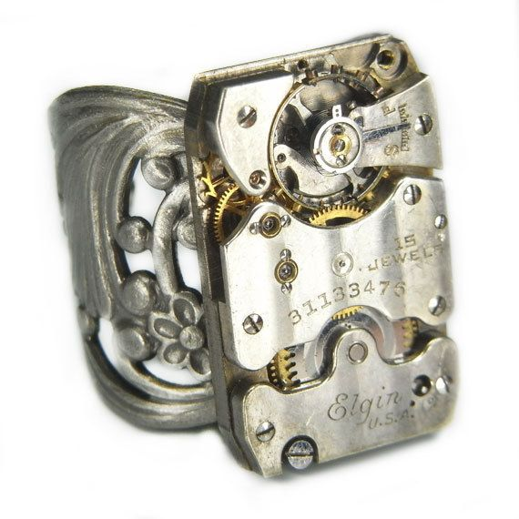 Men's STEAMPUNK Ring Jewelry - Watch Movement TORCH SOLDERED - Vintage 1928 Elgin w/ Bold Antique Silver Band