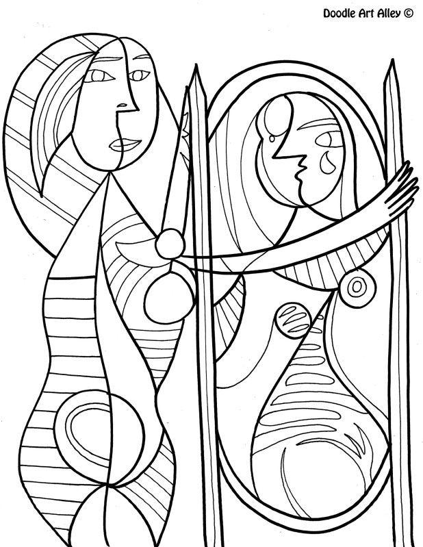 Picasso Fille Devant Le Miroir Picasso Coloring Picasso Art