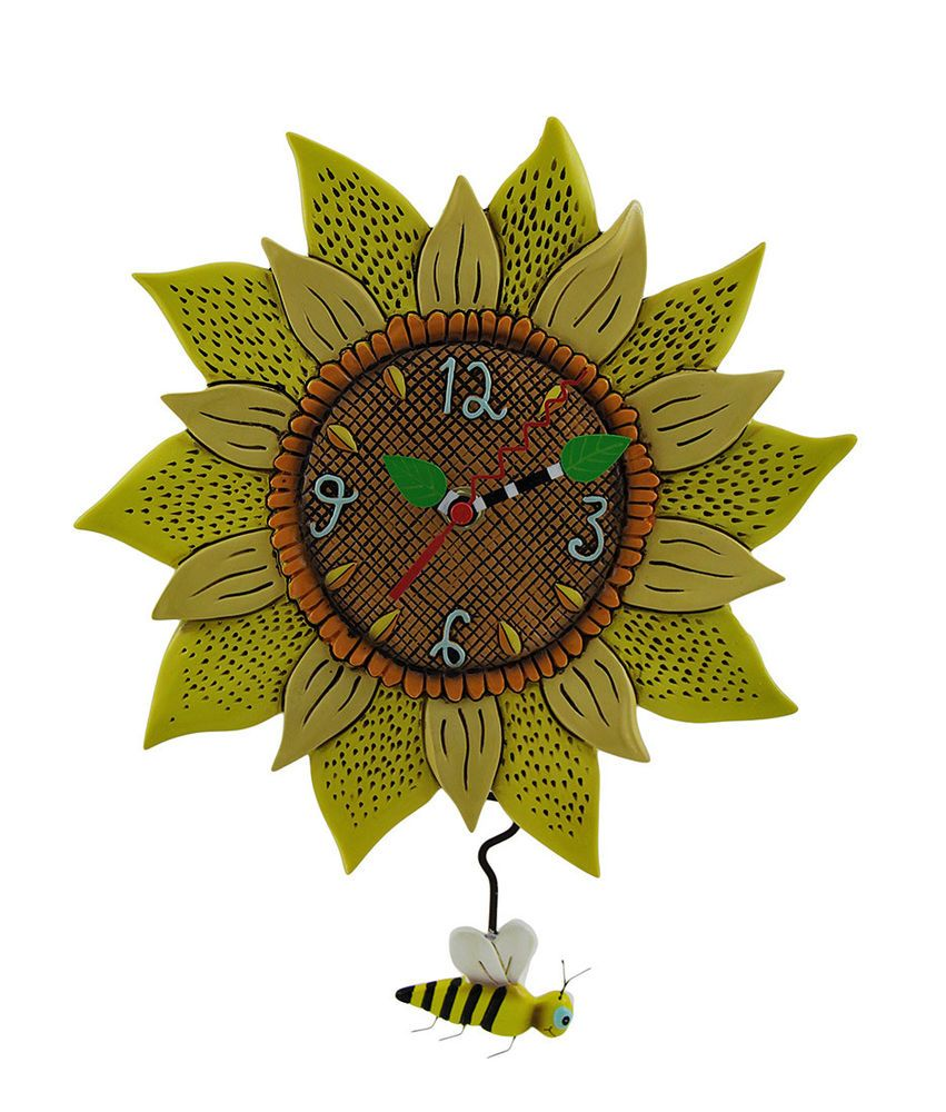 Allen Designs Bee Sunny Sunflower Wall Clock with Bee Pendulum ...