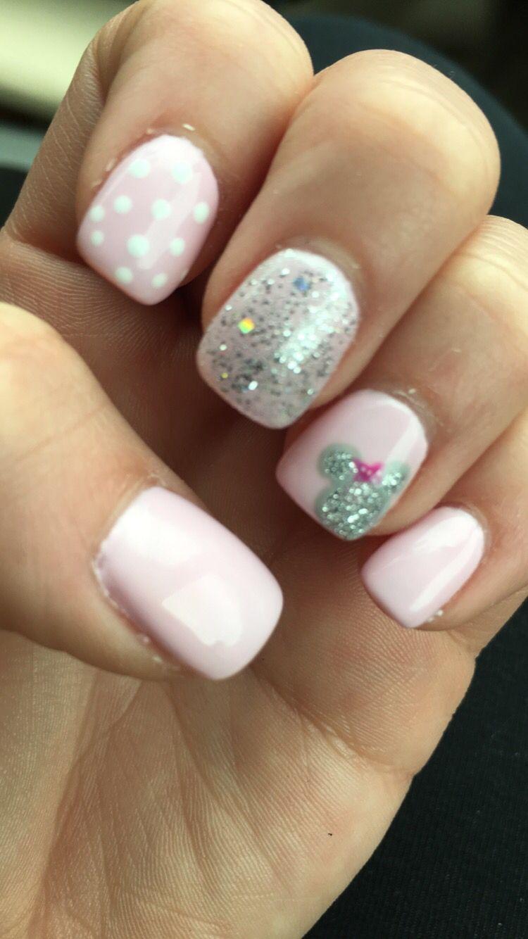 Disney Nails Pink With Minnie Mickey Nails Disney Nails Girls Nails