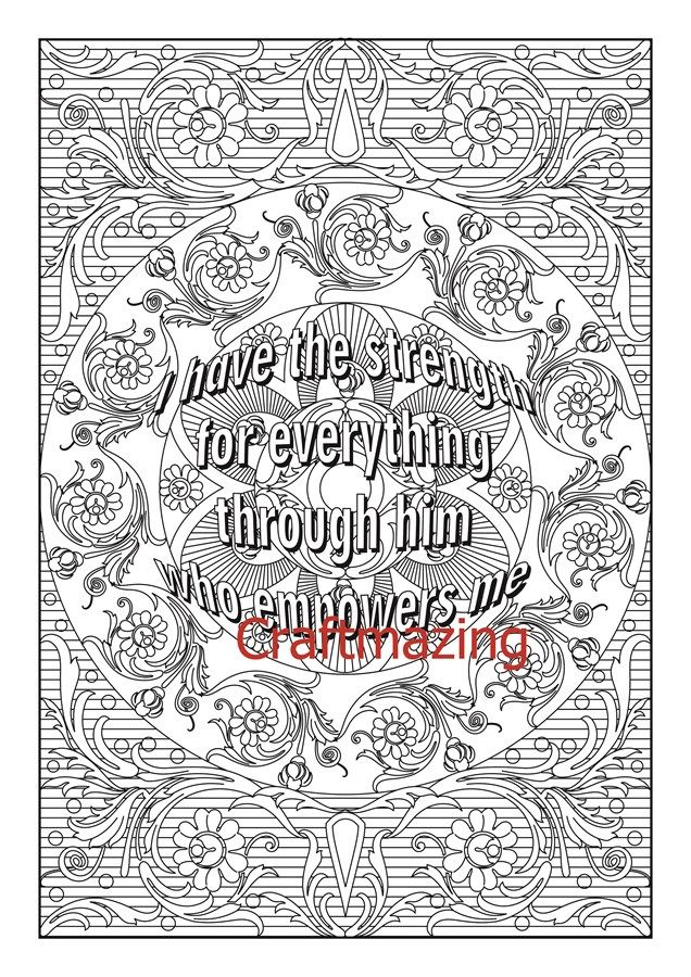 Printable Coloring Pages For Adults With Quotes : Printable adult coloring pages with positive quotes new