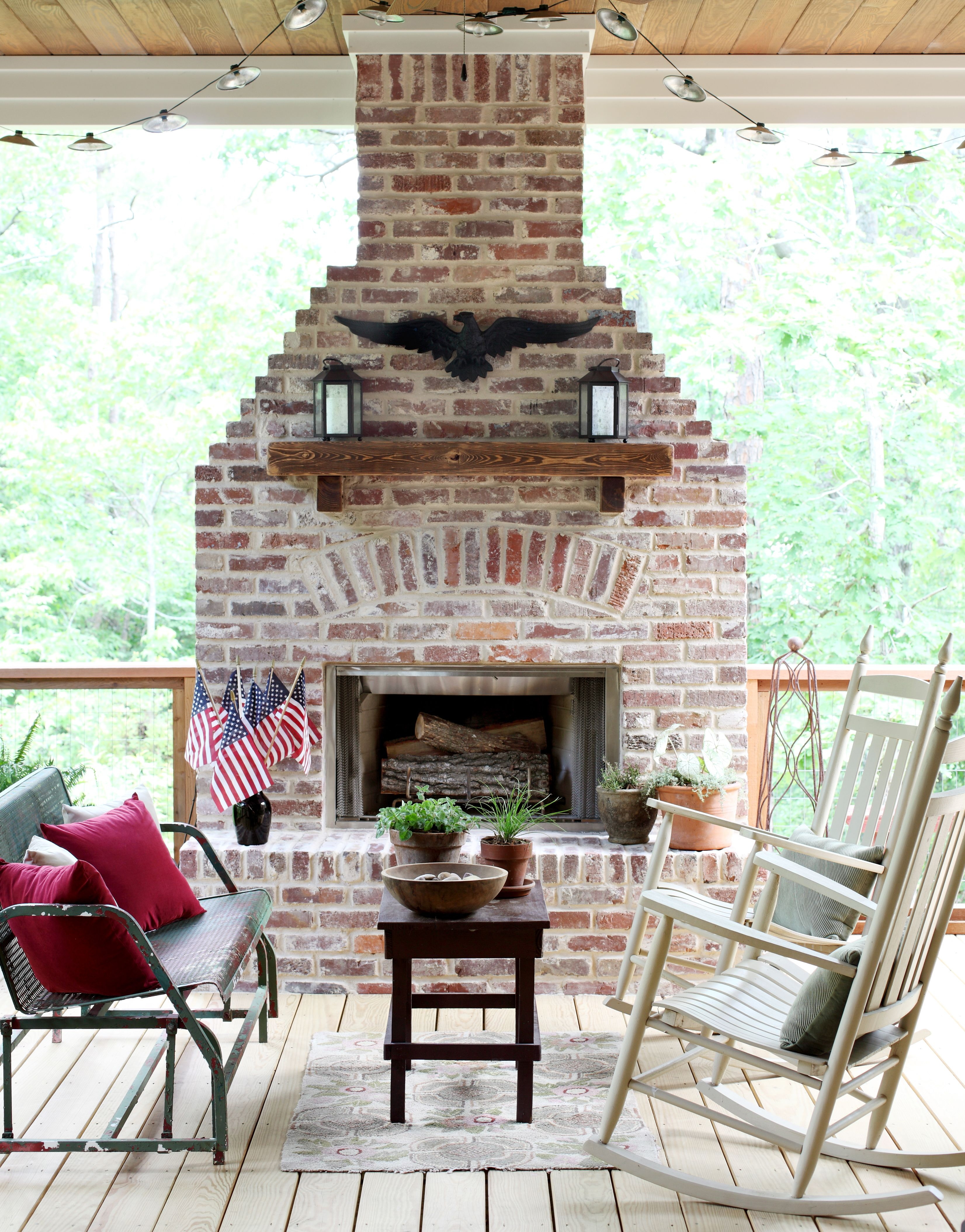 Traditional Green Outdoor Fireplace Patio Fireplace Patio