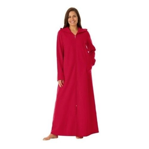 568256eda8 WOMEN S RED PLUS SIZE ZIPPERED BATHROBE LONG ULTRA-SOFT FLEECE HOODIE  LOUNGER  DREAMS  Robes