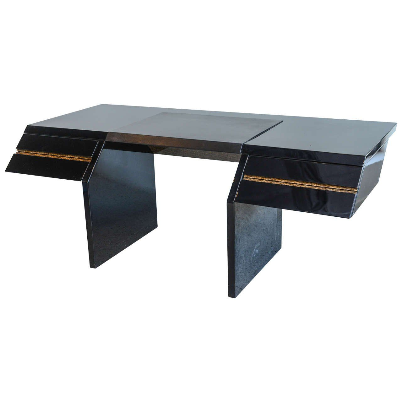 Italian modern black lacquer and zebrawood desk giovanni offredi