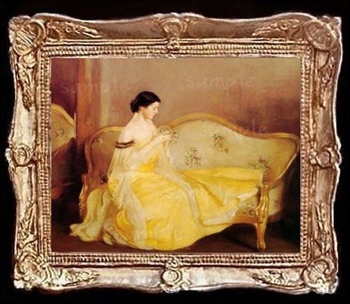 Equestrian Print in a Gold Frame  Dollhouse Art