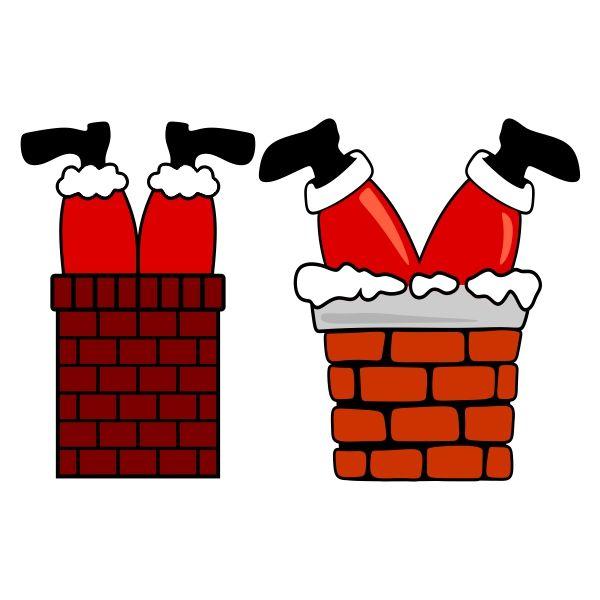 Santa Claus Stuck In The Chimney Svg Cuttable Design
