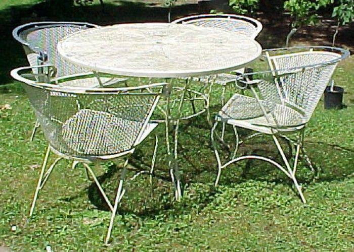 Shabby Vintage 5 Pc White Wrought Iron Patio Set