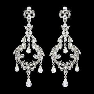 Chandelier Wedding Earrings Crystal Bridal Vintage By Retrobridal