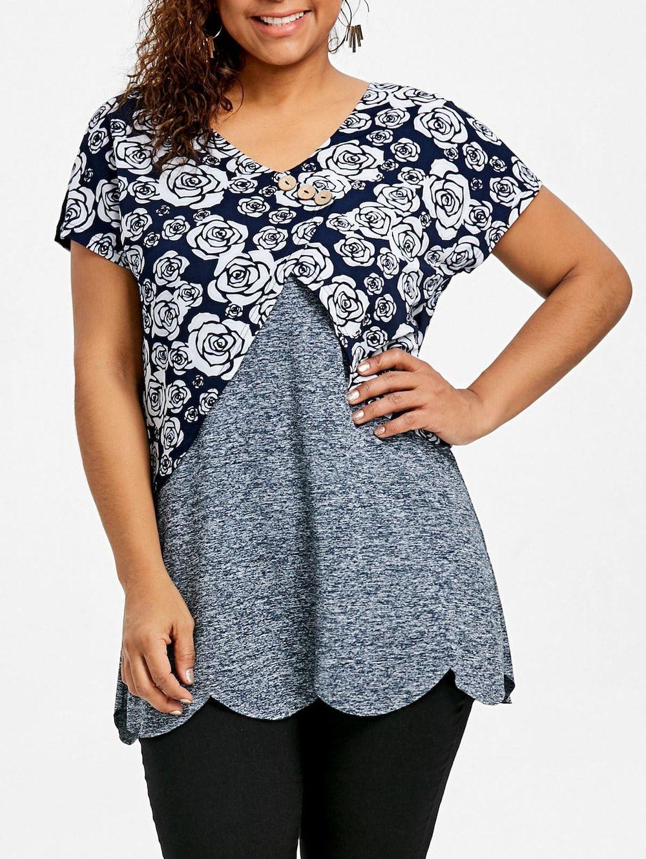 61ff77a78de99 Plus Size Floral Overlay Scalloped T-shirt - COLORMIX XL