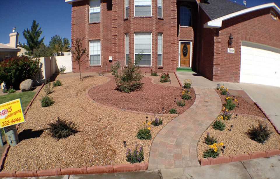 New mexico front yard landscapes bricks rock google for Landscaping rocks new orleans