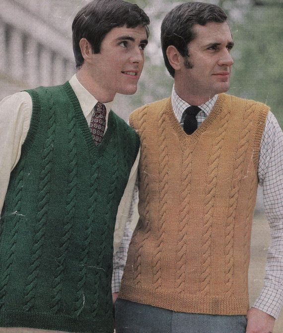 Vintage Knitting Pattern Instructions To Make A Mens Cable Sleeveless Jumper Top Vest Vintage Knitting Patterns Knit Vest Pattern Mens Cable Knit Sweater