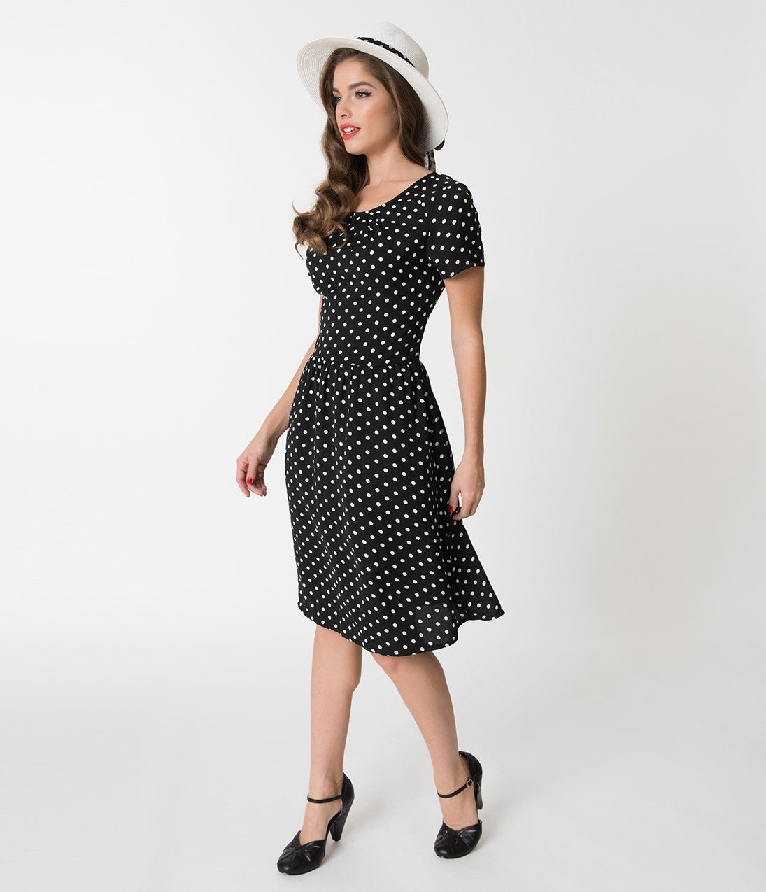 0c29444875d3 Vintage 50s Dresses: Best 1950s Dress Styles 1950S Style Black White Polka  Dot Short Sleeve Elizabeth Swing Dress $58.00 AT vintagedancer.com