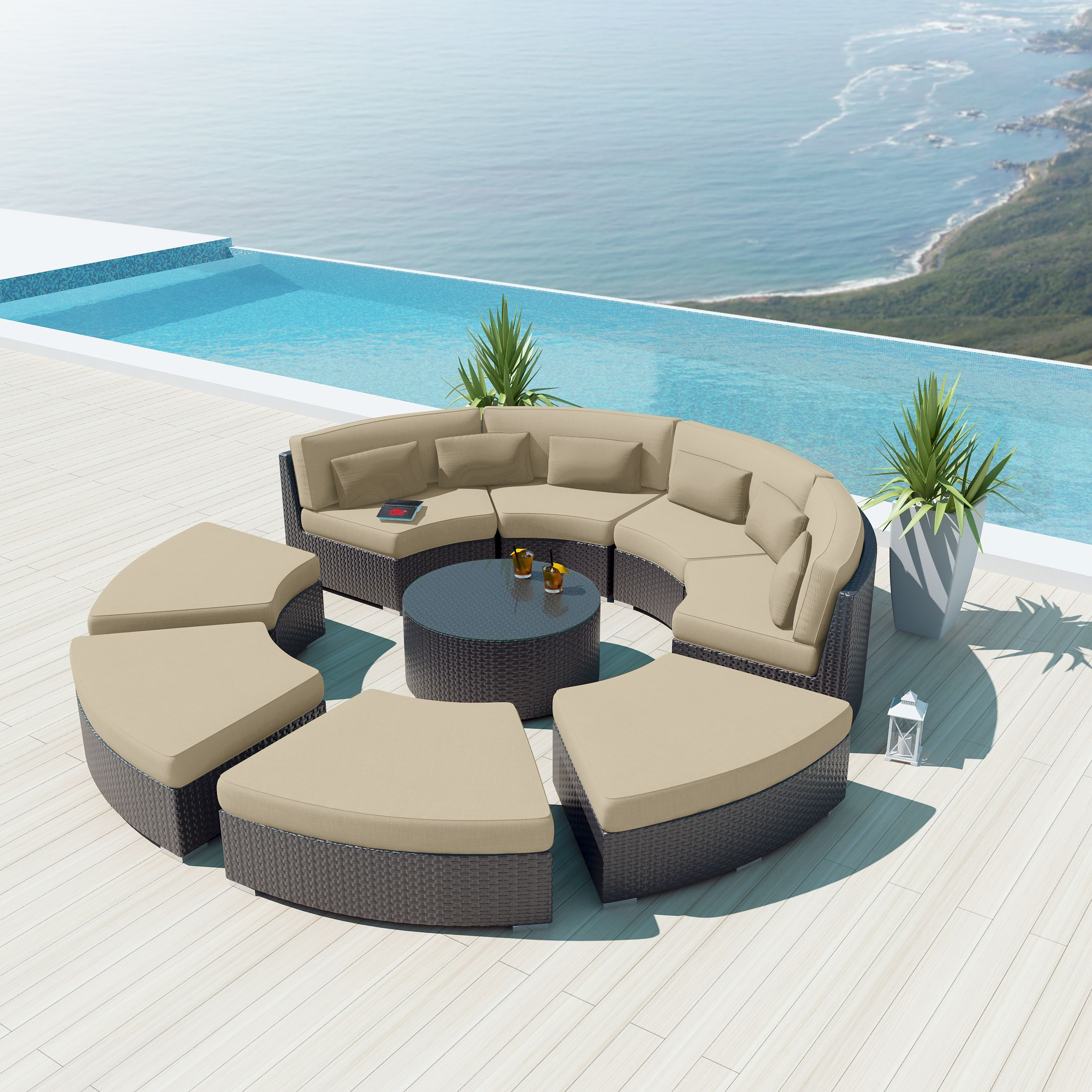 Uduka Modavi 9 pcs Outdoor Sectional Round Patio Sofa Set