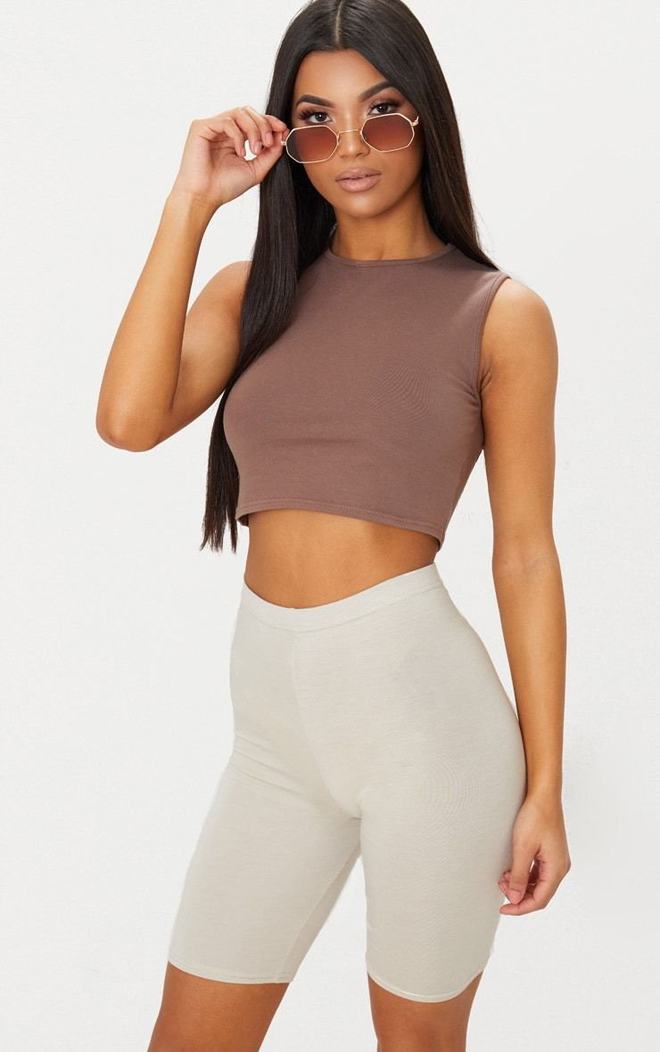 9051f27b62f77 Brown Cotton Stretch Crew Neck Crop Top