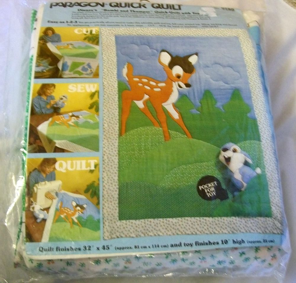 Vintage Paragon Craft Kit Walt Disney Bambi Quilted Crib