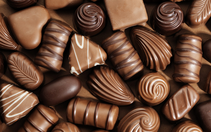 Download Wallpapers Chocolate Sweets Sweets Chocolate Candies Different Sweets Besthqwallpapers Com Doces De Chocolate Bombons De Chocolate Chocolate