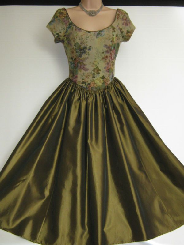 887627e41a LAURA ASHLEY VINTAGE BRONZE TAPESTRY TAFFETA EVENING OCCASION DRESS ...