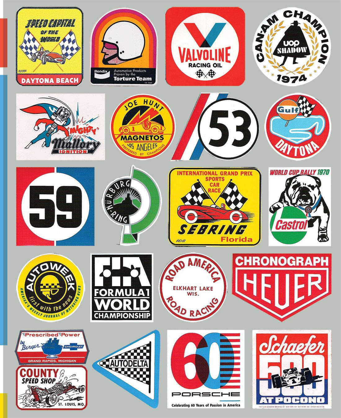 Nothing accentuates a vintage toolbox or workbench like a collection of cool old go fast product stickers and few cool automotive themed collectibles come