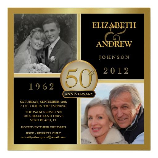 Golden Wedding Anniversary Gift Ideas For Parents: 50th Anniversary Square Poster - 2 Photos