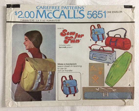 Retro Tote Bag Backpack Beginner Pattern Duffle Bag Ski Ski Bag Mccalls Patterns Bag Cover