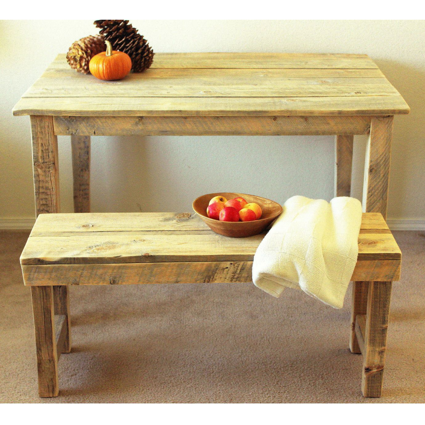 Farm Table With Bench And Chairs: Reclaimed Wood Farmhouse Table & Bench In 2019
