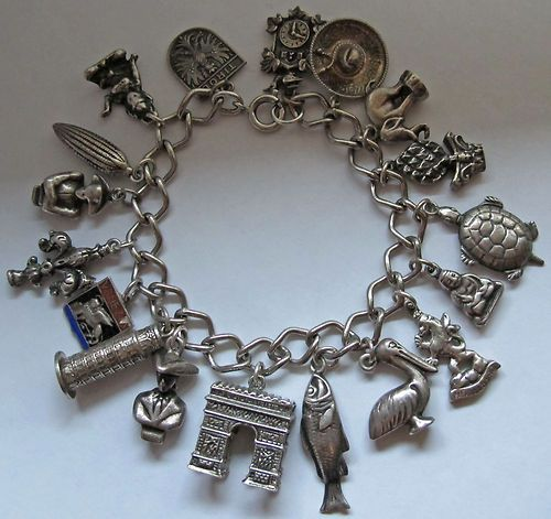 Vintage Collectible Sterling Silver Charm Bracelet with 21 Travel Charms