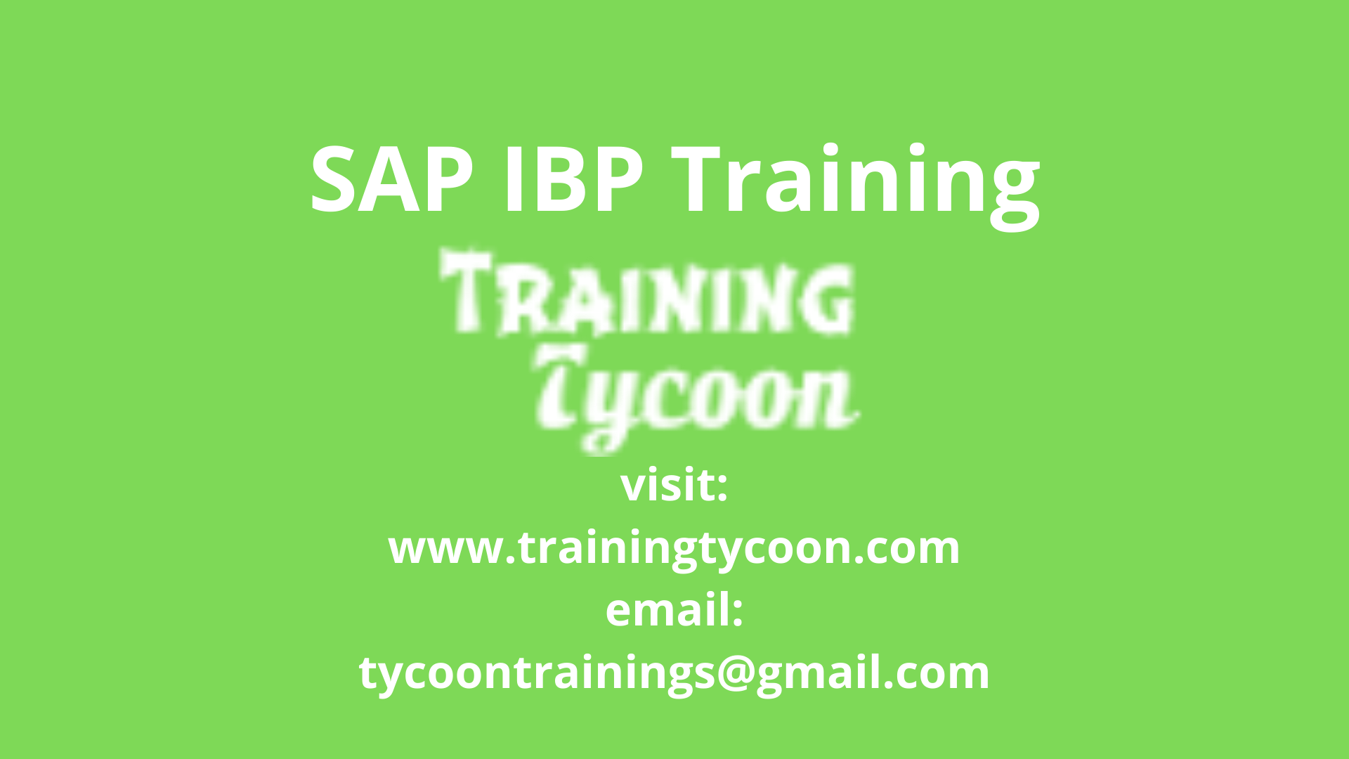 SAP IBP Training Online training, Business planning
