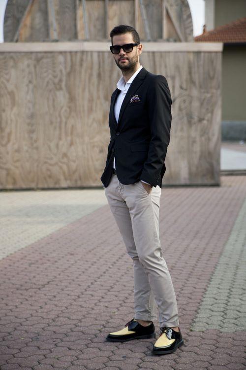 White polo/khaki pants/black jacket. Adding separates to create a ...